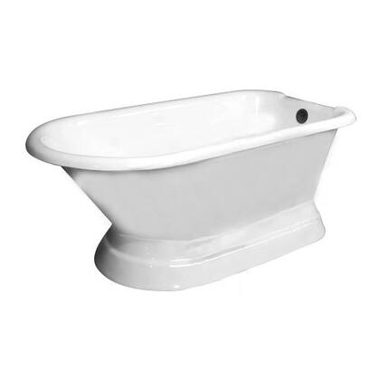 "Barclay CTRNTD66B Clancy, 66"", Cast Iron Roll Top Freestanding Tub on Base with Overflow and No Faucet Holes in"