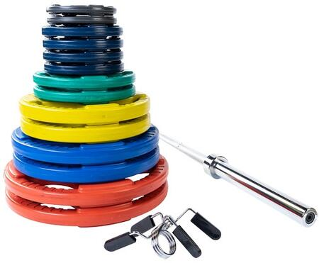 Body Solid ORCS Colored Rubber Grip Olympic Plate Set with Included Chrome Olympic Bar and Spring Collars