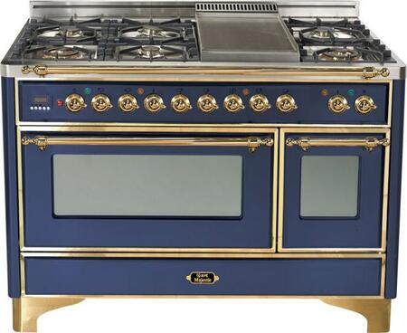 Ilve UM120FMPBL Majestic Series Dual Fuel Freestanding Range with Sealed Burner Cooktop, 2.8 cu. ft. Primary Oven Capacity, Warming in Blue