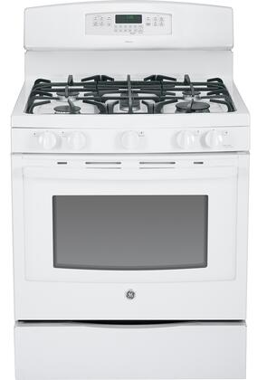 """GE JGB760DEFWW 30"""" Gas Freestanding Range with Sealed Burner Cooktop, 5.6 Primary Oven Capacity, Storage in White"""