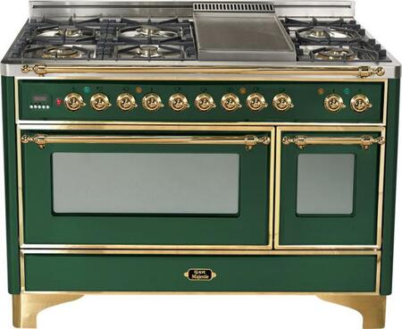 Ilve UM120FMPVS Majestic Series Dual Fuel Freestanding Range with Sealed Burner Cooktop, 2.8 cu. ft. Primary Oven Capacity, Warming in Green
