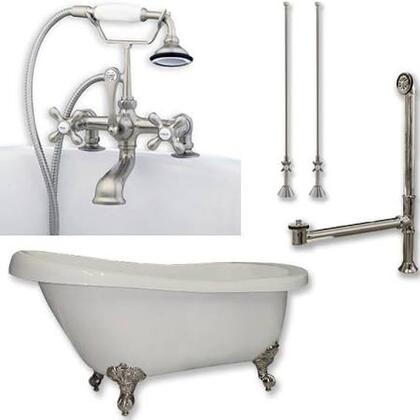 "Cambridge AST61463D2PKGXX7DH Acrylic Slipper Bathtub 61"" x 30"" with 7"" Deck Mount Faucet Drillings and Complete Plumbing Package"