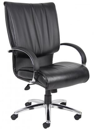 """Boss B970X 44"""" High Back Executive Chair with Knee Tilt, Loop Arms, Dacron Filled Cushions, Seat Height Adjustment, and Hooded Double Wheel Casters in Black LeatherPlus Upholstery"""