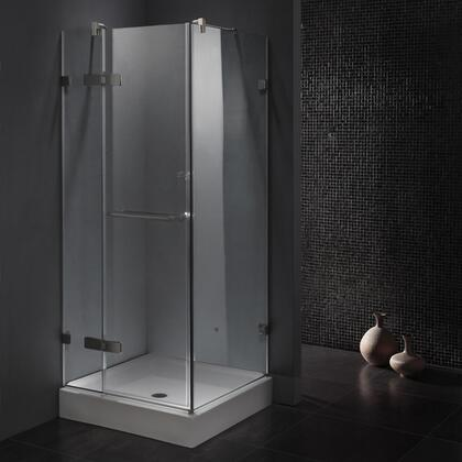 "Vigo VG6011CL32 32"" x 32"" Corner Shower Enclosure with Frameless Design, Towel Bar, Tempered Clear Glass and Rust-Free Hardware:"