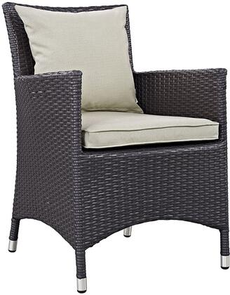"Modway Convene EEI1913 25.5"" Dining Outdoor Patio Armchair with All-Weather Fabric Cushion, Synthetic Rattan Weave Material, Aluminum Frame, UV and Water Resistant in Espresso and"
