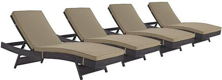 Modway Convene Collection Set of 4 Outdoor Patio Chaise Lounge with Powder Coated Aluminum Frame, All-Weather Fabric Cushions and Synthetic Rattan Weave in Espresso Color