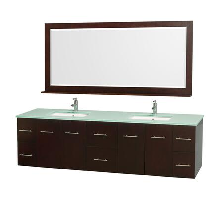 "Wyndham Collection WCV00980 80"" Double Wall Mount Vanity with Square Undermount Porcelain Sinks, 6 Drawers, 4 Doors, and Includes Matching Mirror in"