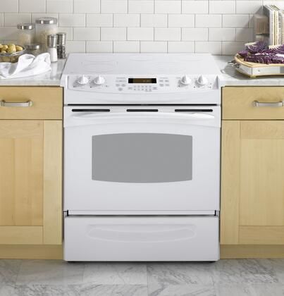 GE PS905TPWW Profile Series Slide-in Electric Range with Smoothtop Cooktop Storage 4.4 cu. ft. Primary Oven Capacity