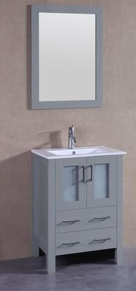 "Bosconi AGR124UX XX"" Single Vanity with White Ceramic Top, Integrated Sink, F-S01 Faucet, Mirror, 2 Doors and X Drawers in Grey"