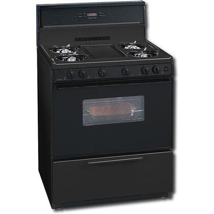 "Premier SFK349B 30"" Gas Freestanding Range with Open Burner Cooktop, 3.9 cu. ft. Primary Oven Capacity, Broiler in Black"