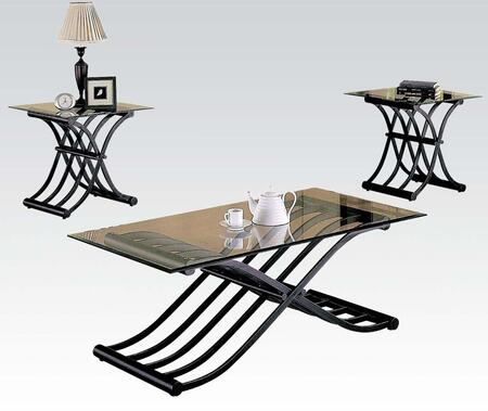 Picture of 02708C Wave 3 PC Table Set with Coffee Table  2 End Tables  Metal Construction and Glass Top in Black