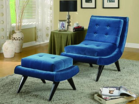 Armen Living LC281FAX 5th Avenue Armless Swayback Chair with Birchwood Frames and Cerulean Fabric in