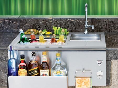 Twin Eagles TEOBxB Built-In Outdoor Bar with Insulated Beverage Cooler, Sliding Cover, Front Speed Rail, Bottle Opener and Towel Ring