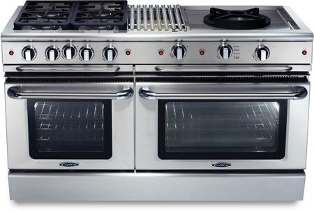 """Capital Precision Series GSCR604BW-X 60"""" Freestanding X Range with 4 Sealed Burners, 4.6 Cu. Ft. Capacity, Secondary 3.1 Cu. Ft. Oven Cavity, and Electronic Ignition, in Stainless Steel"""