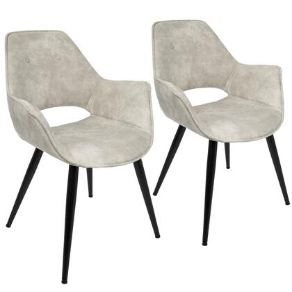 """LumiSource Mustang CH-MSTNG Set of (2) 24"""" Accent Chair with Suede-Like Polyester Upholstery, Flared Armrests and Metal Legs in"""