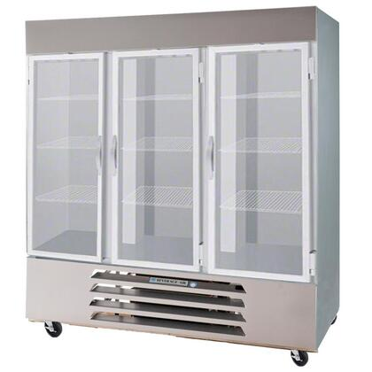"Beverage-Air HBF72 75"" Horizon Series Three Section [Solid Door] Reach-In Freezer, 72 cu.ft. Capacity, Stainless Steel Exterior and Interior, with Bottom Mounted Compressor"