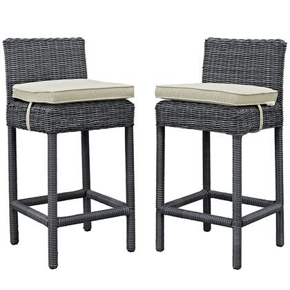 Modway Summon Collection 2 PC Outdoor Patio Pub Set with Powder Coated Aluminum Frame, Sunbrella Fabric, Synthetic Rattan Weave, Water and UV Resistant in