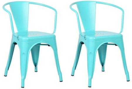 """EdgeMod Trattoria Collection 28.5"""" Set of 2 Arm Chairs with Non-Marking Feet Caps, Stackable, Electroplated Metal and Powder Coated Iron in"""