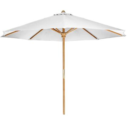 """All Things Cedar TU90 120"""" Teak Umbrella with Premium Teak Pole, Wind Vent and Solid Brass Pulley System in"""