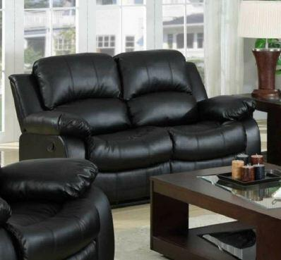 Yuan Tai 1075LBLK Kaden Series Leather Love Seat with Wood Frame Loveseat