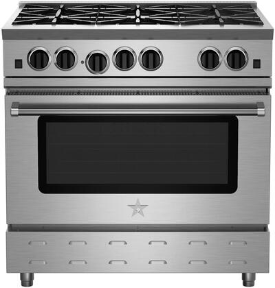 "BlueStar RNB366BV2X 36"" RNB Residential Nova Series Freestanding Range with 6 Open Burners, 22000 BTU UltraNova and Simmer Burners, Convection Oven and Infrared Broiler"