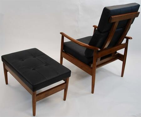 Fine Mod Imports FMI6200BLACK Vod Series Contemporary Leather Chaise Lounge