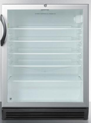 """Summit SCR600BLx 24"""" Commercially Approved Compact Beverage Center with 5.5 cu. ft. Capacity, 4 Adjustable Glass Shelves, Automatic Defrost, and Lock, in Stainless Steel"""