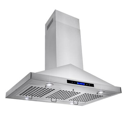 "Golden Vantage GIR0136 36"" Island Mount Range Hood with 870 CFM, 65 dB, Innovative Touch, LED Lighting, 3 Fan Speed, Stainless Steel Baffle Filter and X: Stainless Steel"