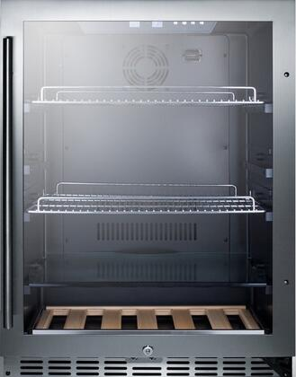 """Summit SCR2466PUBT 24"""" Beer Pub Cellar with 5.43 cu. ft. Capacity, Digital Thermostat, Factory Installed Lock, Professional Handle, Double Pane Glass Door, in Stainless Steel"""