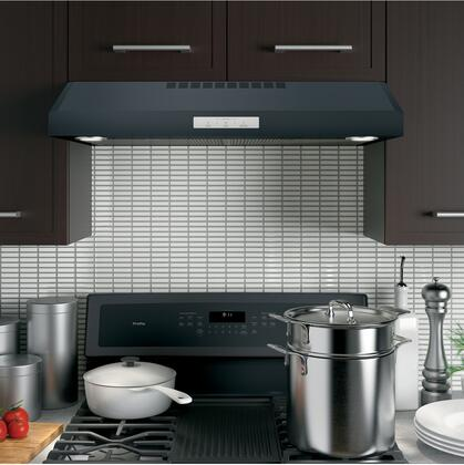 "GE Profile PVX7300 30"" Under Cabinet Standard Range Hood with 400 CFM, Auto-Off, Chef Connect, LED Lighting, and Glass Touch Controls:"