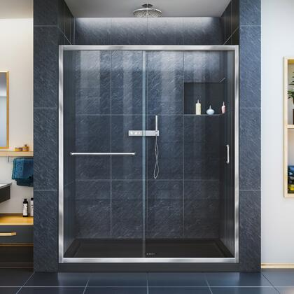 Infinity Z Shower Door 60 Chrome Black Base