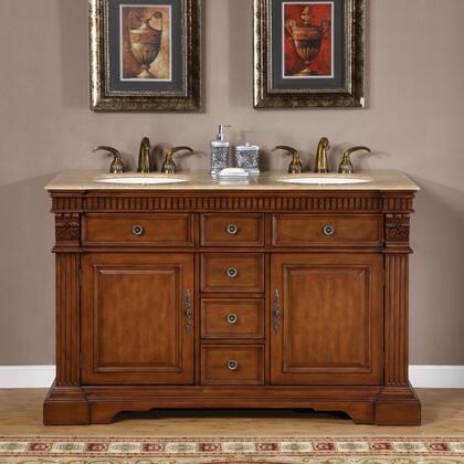 Silkroad Exclusive LTP-0181-T-UIC Isabella Double Sink Cabinet - Travertine Top, Undermount Ivory Ceramic Sinks (3-hole)