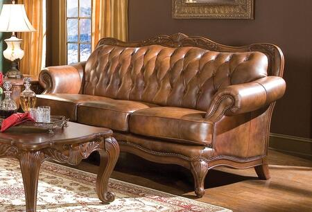 Coaster 500681 Victoria Classic Series Stationary Leather Sofa
