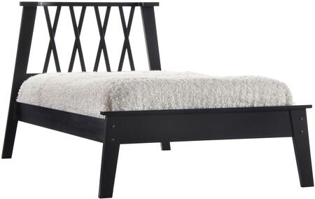 """Acme Furniture Moffett Collection Bed with """"X"""" Pattern Headboard, Low Profile Footboard, Slat System Included and Poplar Wood Construction in Black  Finish"""