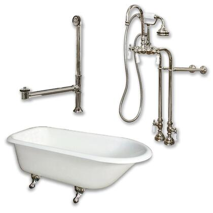 "Cambridge RR55398684PKG Cast Iron Rolled Rim Clawfoot Tub 55"" x 30"" with no Faucet Drillings and Complete Free Standing English Telephone Style Faucet with Hand Held Shower Assembly Plumbing Package"