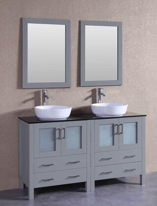 "Bosconi AGR230BWLBGX XX"" Single Vanity with Black Tempered Glass Top, Oval White Vessel Sink, F-S02 Faucet, Mirror, 4 Doors and X Drawers in Grey"