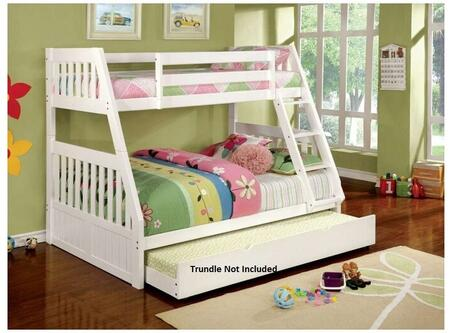 Furniture of America Canberra II Collection Bunk Bed with Built-In Angled Ladder, Top and Bottom Slats, Solid Wood and Wood Veneers Construction in White Finish