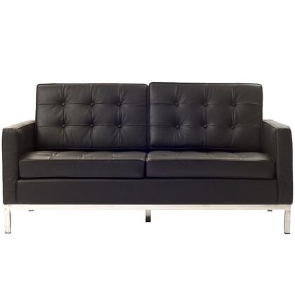 Modway EEI185BRN Loft Series Leather Stationary with Metal Frame Loveseat