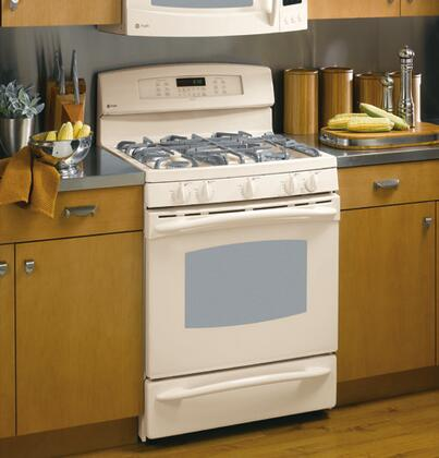GE PGB916DEMCC  Gas Freestanding Range with Sealed Burner Cooktop, 5.0 cu. ft. Primary Oven Capacity, Warming in Bisque