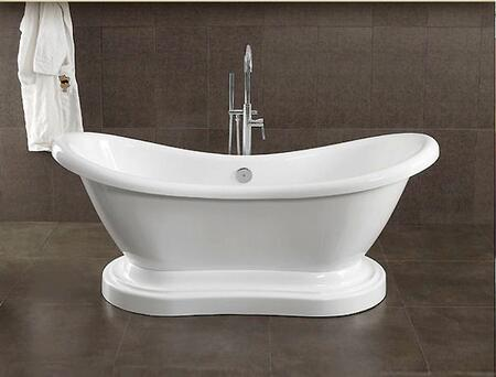 "Cambridge ADESPEDXX Acrylic Double Ended Pedestal Slipper Bathtub 68"" x 28"""