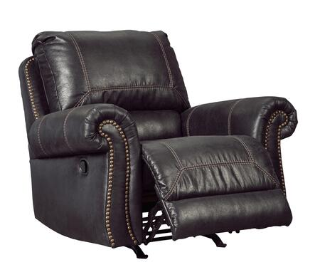 "Signature Design by Ashley Milhaven 6330 42"" Rocker Recliner with Nail Head Trim, Rolled Arms, Jumbo Stitching, Split Back Cushion, PU Leather and Fabric Upholstery in"