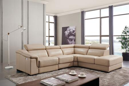 ESF Sectional Sofa with Electric Recliner, Adjustable Headrests, Pillow Top Arm and Leather Upholstery