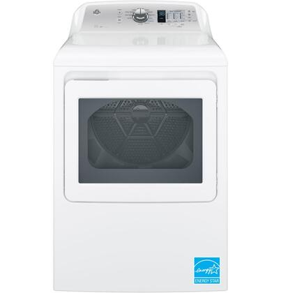 "GE GTD65xBSJWS 27"" Energy Star Rated Front Load Dryer with 7.4 cu. ft. Capacity, 12 Dry Cycles and 4 Temperature Selections, HE Sensor Dry and My Cycle Settings, in White"