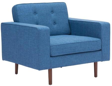 "Zuo 10021A Puget 32"" Living Room Chair with Tapered Legs, Button Tufting, and Poly-Linen Upholstery"