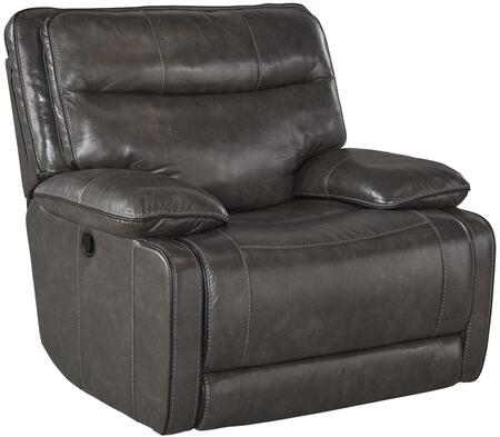 """Milo Italia Vanessa Collection MI-4170-82P-BLK 44"""" Rocker Recliner with Split Back Cushion, Piped Stitching, Metal Frame and Leather Upholstery in Metal Color"""