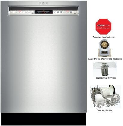 """Bosch SHE68TL5UC 24"""" 800 Series Built In Full Console Dishwasher with 6 Wash Cycles 15 Place Settings Quick Wash 