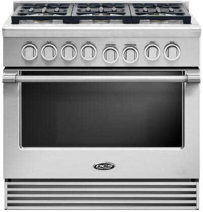 "DCS RDV2366 36"" Freestanding Dual Fuel Range with 6 Sealed Dual Flow Burners, 4.7 Cu. Ft. Oven Capacity, Full Extension Racks, and Flat Vent Trim: Stainless Steel"