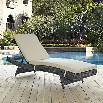 """Modway Summon Collection EEI-1996-GRY- 79"""" Outdoor Patio Sunbrella Chaise with Adjustable Incline/Recline, Two-Tone Synthetic Rattan Weave, Plastic Glides, UV and Water Resistant in"""