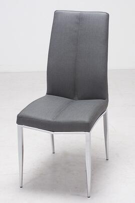 """Chintaly Abigail Collection ABIGAIL-SC- 37"""" Side Chair with PU Upholstery, Chrome Legs and Fire Retardant Foam in"""