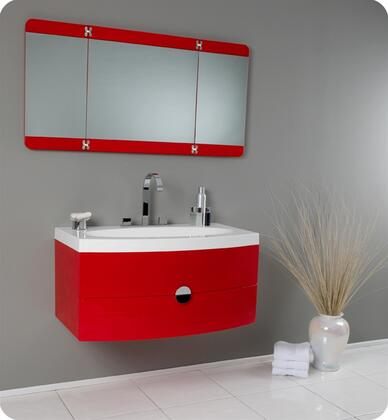 """Fresca Energia Collection FVN5092 36"""" Modern Bathroom Vanity with Three Panel Folding Mirror, Soft Close Drawer and Integrated Acrylic Sink & Top in"""